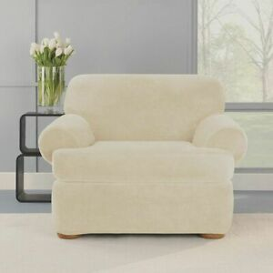NEW Stretch Plush Two Piece Faux Mink T-Chair Slipcover Cream washable Soft B
