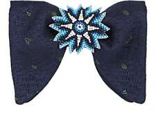 New Gucci Navy Blue Woven Embroidered Silk Linen Beaded Starburst Bow Tie