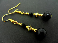 Gold Plated Drop Earrings. New. A Pair Of Black Glass Pearl