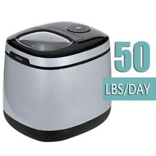 Portable Cube Ice Maker Large Capacity 50 Lbs Silver Grey Color Countertop Type