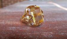 9.33 CT ORANGE CITRINE & 0.15 CTW DIAMOND 14 KT YELLOW GOLD RING SIZE 6.75