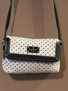 Kate Spade Canvas Hemp Polka Dot Cream Black  Leather Purse Bag Crossbody