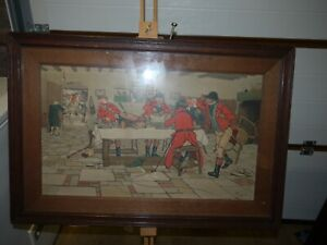 "RARE ORIGINAL CECIL ALDIN Print - ""BREAKFAST AT 3 PIGEONS  - FALLOWFIELD HUNT"""