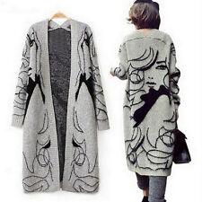 Casual Loose Sweaters Outwear Long Cardigan Jacket Coat Fashion Women Knitwear F