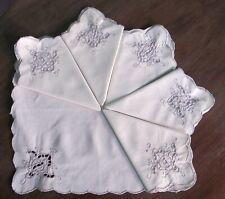 SERVIETTES X 6 Napkins Ecru Cutwork Embroidered Corner 29cms sq Vintage Wedding