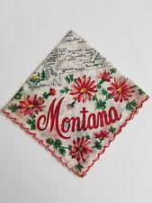 New listing Vintage Ladies Hankie Montana State Red Floral