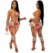 New Fashion Women Sleeveless Hollow Out Print Skinny Patchwork Club Jumpsuit