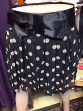 Polka Dot Black Biege Skirt Gathered Micro Mini Skirts Satin Bow Large L
