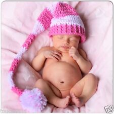 CROCHET BABY PINKS  LONG TAIL ELF HAT - PHOTO PROP