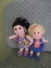 Delightful pair of Crocheted Dolls Well Made & Very Clean - largest 11 in.