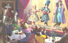Vintage Postcard-Dressed cats entertaining on stage to other dressed cats