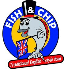 FISH AND CHIPS RESTAURANT AND CATERING TRAILER CAFE shop  X2 sticker decals