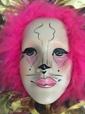 Vintage Brinn Mardi Gras Porcelain Clown / Cat Face Wall Decor Hand Painted