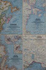 4 Road Maps CANADA 1961-67 Ontario British Columbia Quebec Alberta Newfoundland