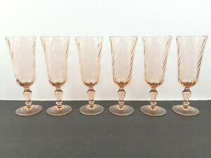 6 Pink Swirl Luminarc Arcoroc Rosaline Glass Tall Champagne Flutes France Set