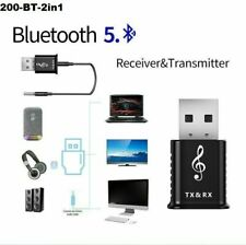 2 in 1 USB Bluetooth 5.0 Transmitter Receiver AUX Audio Adaptor for TV PC Car UK