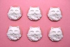 Pink 25mm Round Feline Pet craft Cameos 6 Unset White Cat Kitten & Flowers on