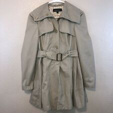 Topshop Women's Trench Coat Flare Petite 0 Long Sleeve Floral Kakhi Belted Lined