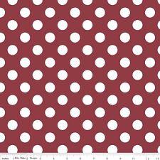 "Dot Fabric Medium 3/4"" Burgundy Red Wine White Dots Riley Blake Cotton Quilting"