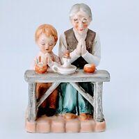 Vintage Norleans Porcelain Old Woman & Child Praying Figurine Japan. Pre-owned.