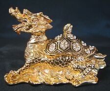 Feng Shui Big Bejeweled Brass Metal Dragon Tortoise Turtle Statue with Gems