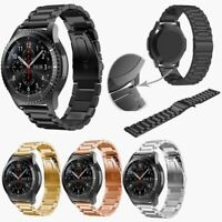For Samsung Gear S3 Frontier three flat buckle Stainless Steel Watch Band LN