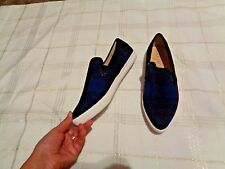 sole society noe blue black fabric pointed toe slip on shoes size 8