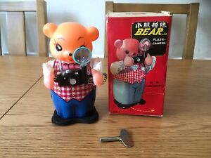 VINTAGE CLOCKWORK BEAR WITH FLASH CAMERA MS575 MADE IN CHINA WITH ORIGINAL BOX