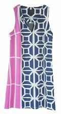 NWT Julie by Julie Brown Blue & Pink Geometric Sleeveless Dress Size M Medium