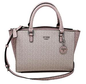 NEW GUESS Women's Blush Pink Logo Print Small Satchel Crossbody Purse Handbag