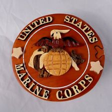 Marine Corp Wooden Handmade Secret Puzzle Box Jewelry Trinket Military Gift 3D