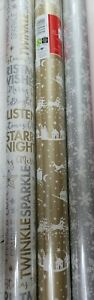 3 x 5m Rolls Of  Christmas Gift Wrapping Paper ( reindeer silver gold )