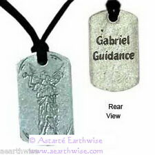 ANGEL GABRIEL ARCHANGEL PENDANT ON CORD Wicca Pagan Witch Goth  PEWTER