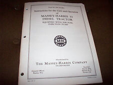 Original Massey-Harris 33 Diesel Tractor Operator's Manual
