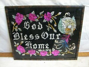 Vintage Tin Foil Folk Art Reverse Painted God Bless Our Home Picture Religious