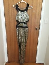 Black and gold sequence maxi dress
