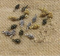 50pcs Antique Charms pine cone pendant Diy For Jewelry Making 14mm
