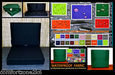 """4"""" THICK WATERPROOF FABRIC ARMCHAIR CHAIR SEAT CUSHIONS GARDEN PALLET FURNITURE"""