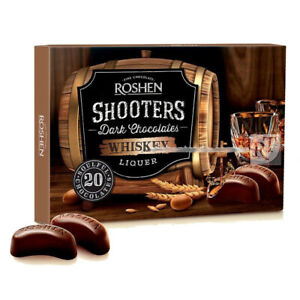 """Ukrainian Box Sweets ROSHEN """"Shooters"""" Chocolate Candy with Whiskey Liqueur 150g"""