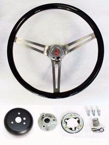 "Oldsmobile Cutlass 442 88 Black Wood Steering Wheel 15"" High Gloss Finish"