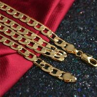 """6mm x 20""""/24""""/26"""" Mens Curb Cuban Stainless Steel Necklace Bracelet Gold Chain"""
