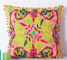 """Suzani Hand Embroidery Cushion Cover Indian Pillow Cases Yellow 20x20"""""""