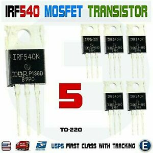 5 Pcs IRF540N Mosfet N-Channel IR Power Transistor 33A 100V TO-220