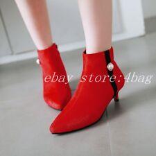 Womens Kitten Heels Pearls Ankle Boots Side Zip Dress Shoes Pointy Toe Pumps New