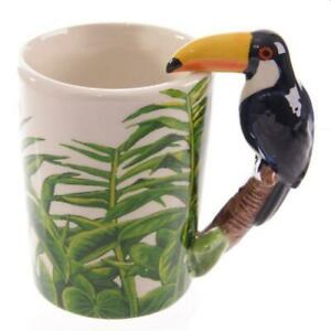 Toucan Shaped Handle Mug with Jungle Decal, Gift/Present/Stocking Filler