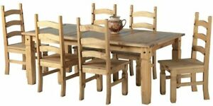 """Mexican Corona 6ft Pine 70"""" Dining Table Set / 6 Chairs antique waxed"""