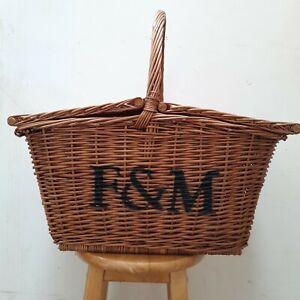 Vintage Fortnum and Mason F&M Large handled Huntsman hamper wicker picnic basket