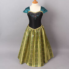 Frozen ANNA Coronation Dress Costume for ADULT WOMEN size Small  + Necklace USA