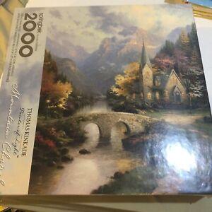 """Springbok 2000 piece puzzle Thomas Kinkade Mountain Chapel 34"""" X 42 1/2"""" New"""