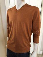 BURBERRY Men's Sweater 100% Fine Merino Wool Orange Embroidered Logo Size Large